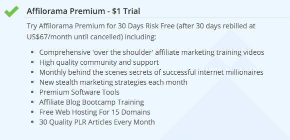 Affilorama Premium $1 trial