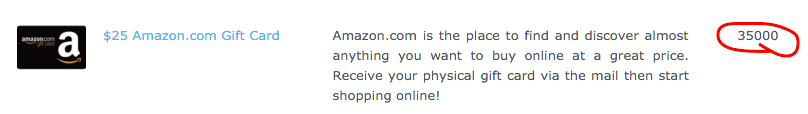 Amazon gift card for 35000 points