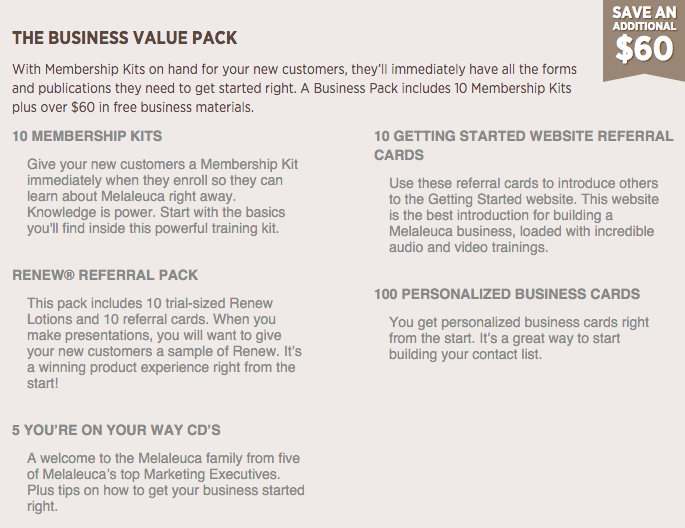 Business Vlaue Pack contents