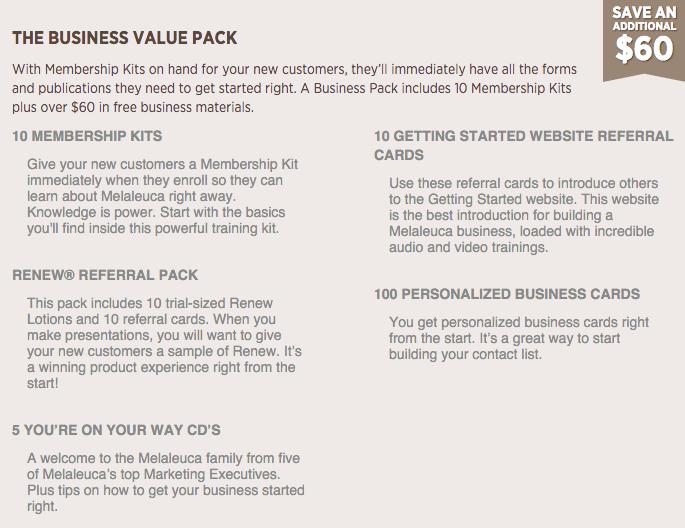 Business Vlaue Pack contents
