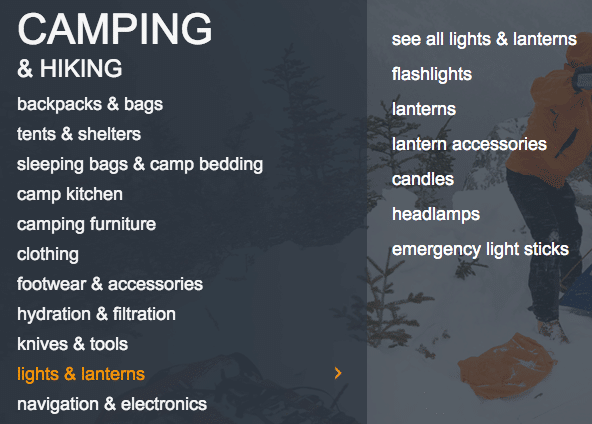 Camping lighting niche