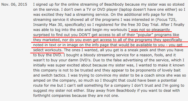 Complaint about video streaming service