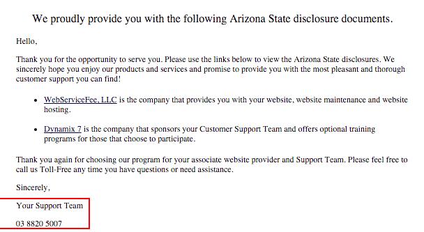 Website disclosure