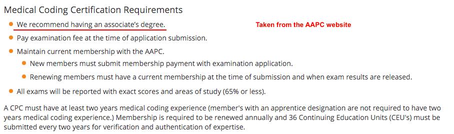 AAPC requirements