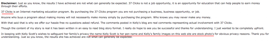 Earnings Disclaimer >> The Kelly Scott '37 Clicks' Scam- Keep Your Money!