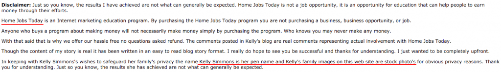 Disclaimer Proving Kelly Simmons Is Not Real