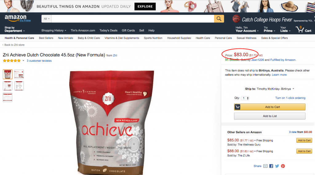 Same product on Amazon