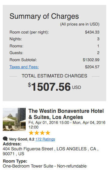 Hotel reserved through Paycation