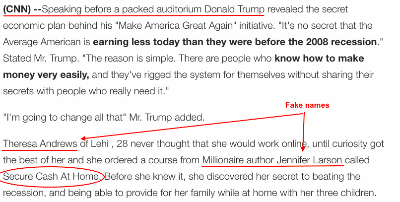 Snippet from fake CNN trump website
