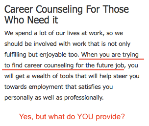 Career Counselling statement