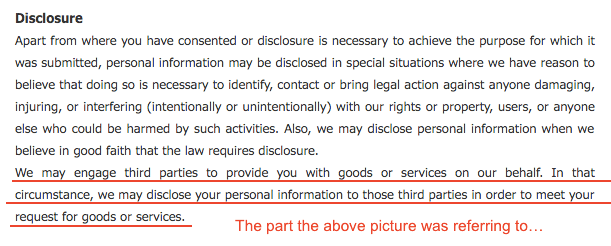 Privacy disclosure