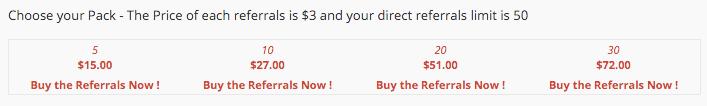Referrals purchase cost
