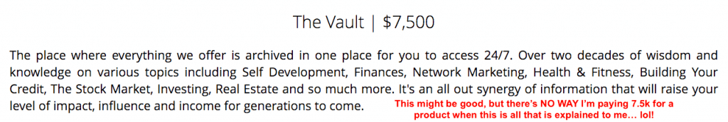 The Vault Product Description