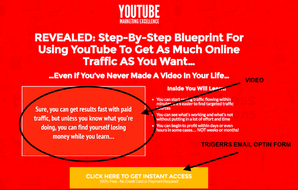 YouTube Excellence Landing Page Example