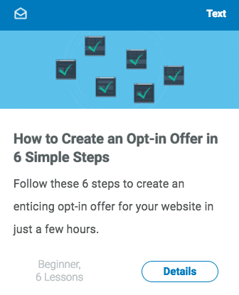 Class About Creating opt-in Offers