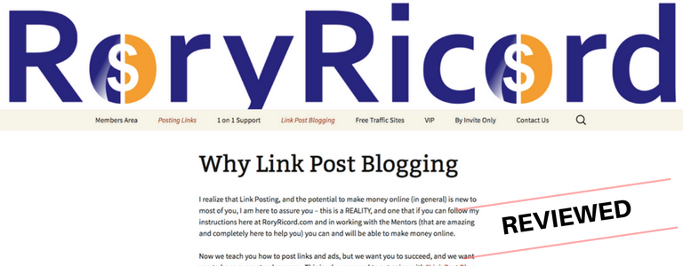 "Is Rory Ricord's ""Link Post Blogging"" System Legit Or Scam?"
