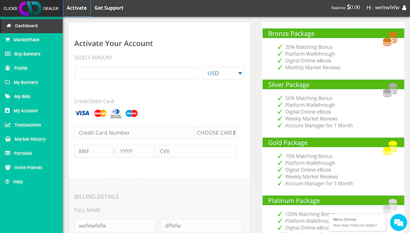 Activating Account Packages
