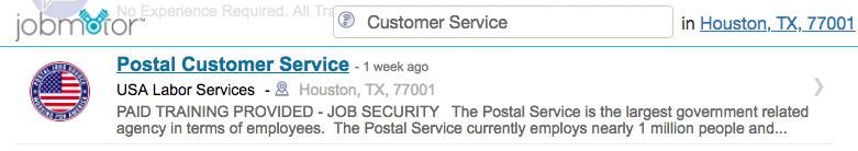 Postal Job Ad Listing
