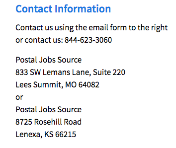 Address for Postal Job Source