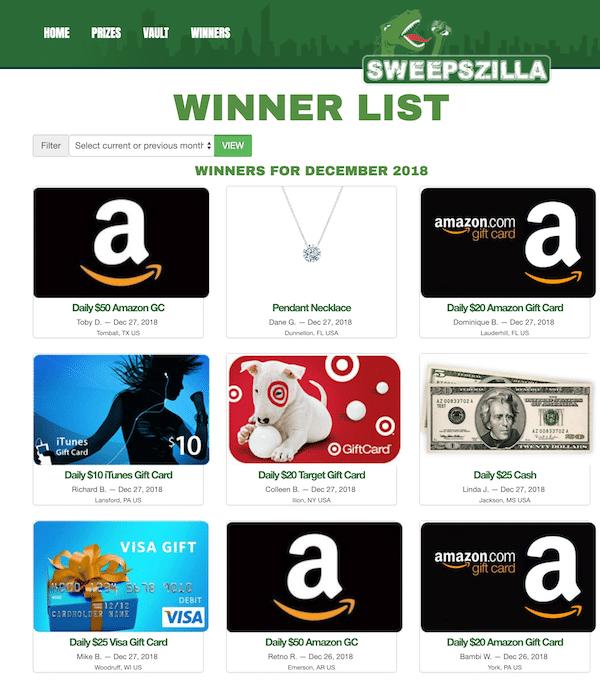 Sweepszilla Winners List