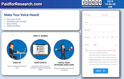 paidforresearch.com website