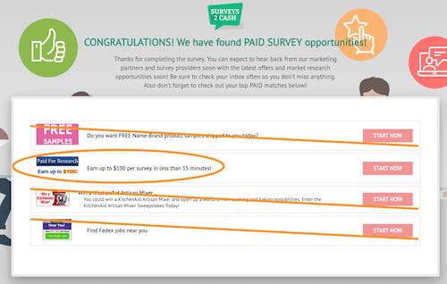 surveys2cash questionnaire results