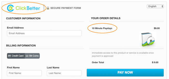 ClickBetter Order Screen for 10 Minute Paydays