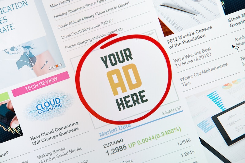 "Online internet banner with text ""YOUR AD HERE"" on a web page illustrating concept of making money online by posting ads."