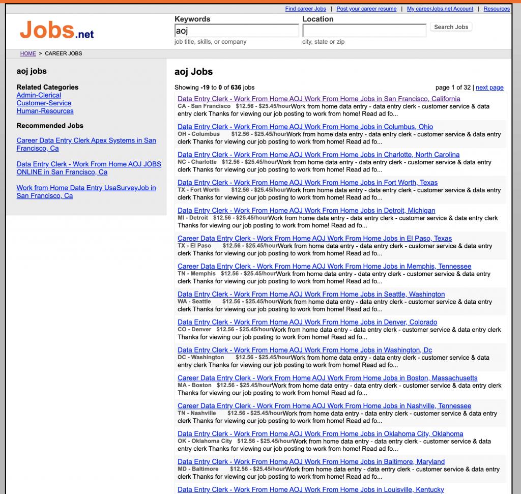 AOJ Online Jobs Listings on Jobs.net