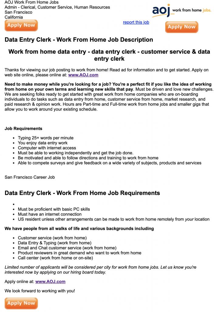 Data Entry Clerk Position on Jobs.net