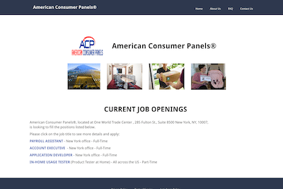 American Consumer Panels website fake job openings