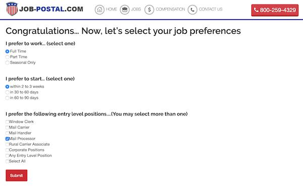 Select Job Preferences Page