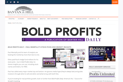 Bold Profits Daily page on Banyan Hill website
