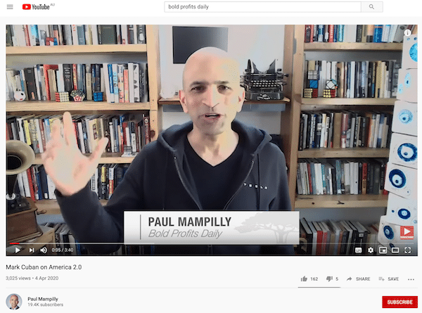 Video of Paul Mampilly presenting Bold Profits Daily